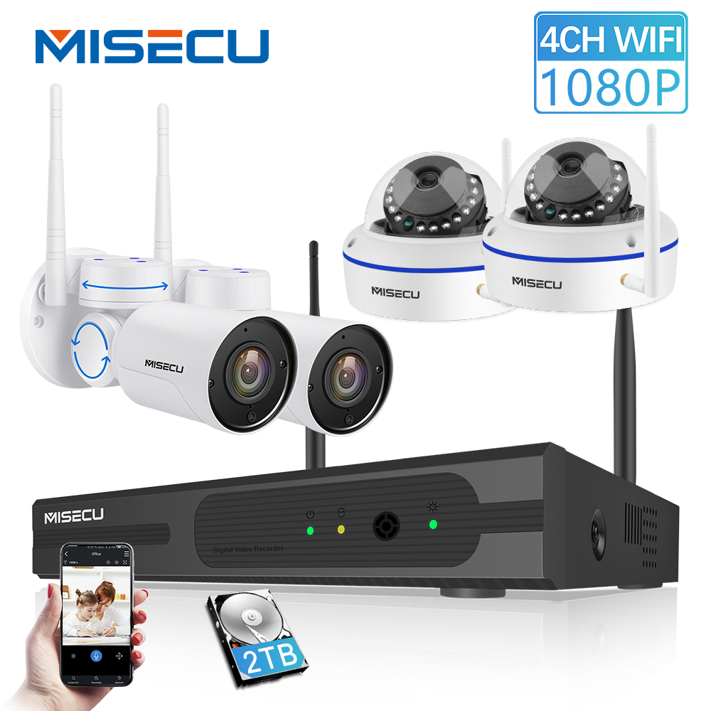MISECU 4CH Wifi NVR System 1080P Outdoor Pan Tilt Waterproof Indoor Dome Vandalproof Wireless Camera Motion detect CCTV System