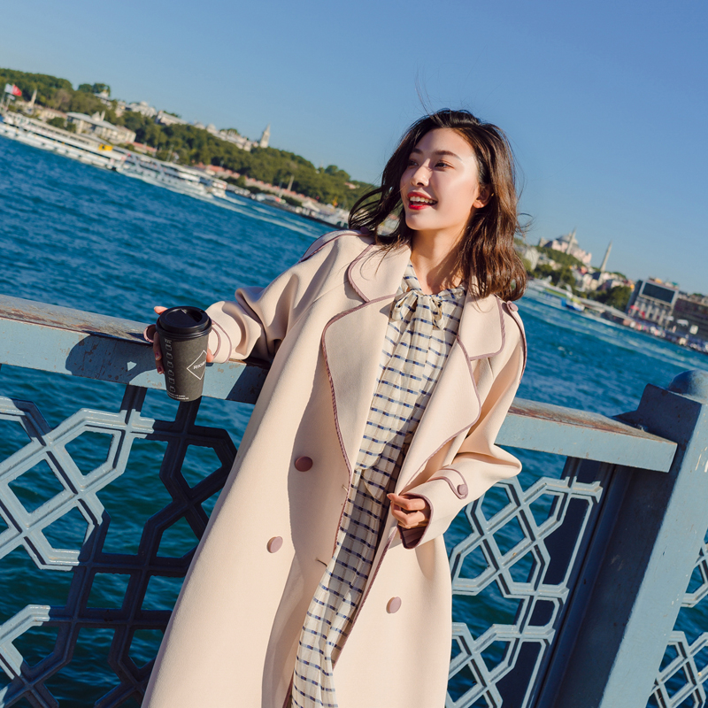 Womens windbreaker korean style Women coat spring 2019 New Double-breasted Long   trench   coat Casual Loose Coats female Overcoat