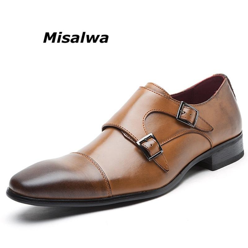 Misalwa Hommes de Double Monk Strap Slip Sur Mocassins En Cuir Oxford Bout Carré Classique Formelle Chaussures Casual Confortable Robe Chaussures hommes