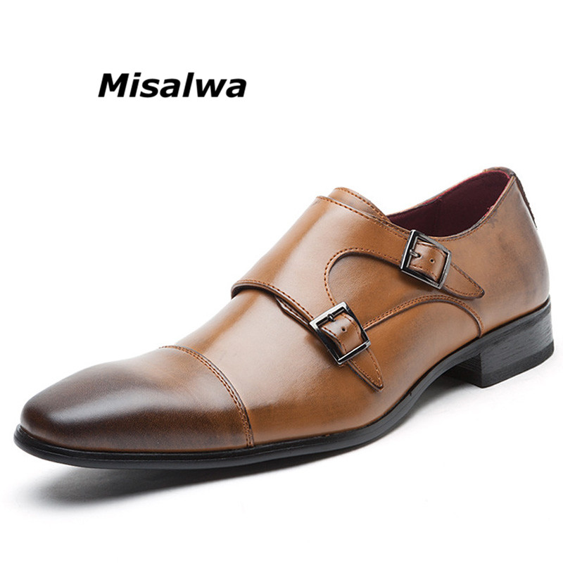 цена на Misalwa Men's Double Monk Strap Slip On Loafer Leather Oxford Square Toe Classic Formal Shoes Casual Comfortable Dress Shoes Men