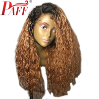 PAFF Curly Ombre Blonde Brazilian Remy Glueless Lace Front Wig Human Hair With Baby Hair Two tone Color Bleached Knots Left Part