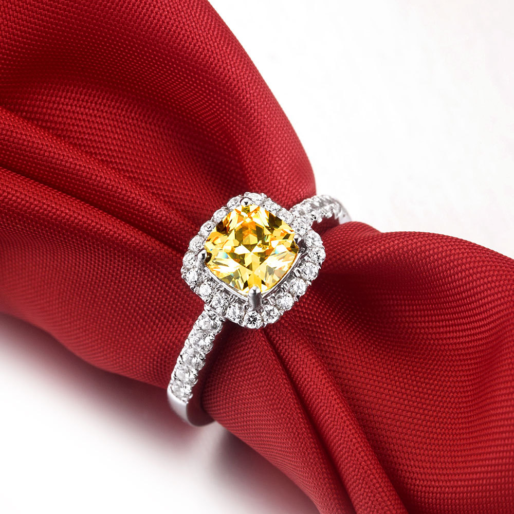 3ct Fabulous Cushion Cut Yellow Synthetic Diamonds Women Engagement Ring  Solid Sterling Silver Qualty Guarantee No