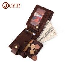JOYIR Crazy Horse Leather Mens Wallet RFID Coin Pocket Vintage Genuine Short For Men Male ID Credit Cards Holder
