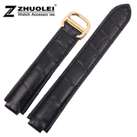 18mm NEW High Quality Black Genuine Alligator Croco Leather Strap Watch Band For Brand BALLON BULE