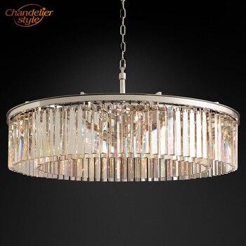 Rhys Clear Glazen Prisma Ronde Kristallen Kroonluchter Verlichting Moderne Kroonluchter Lamp Retro Nordic LED Kroonluchter Opknoping Licht