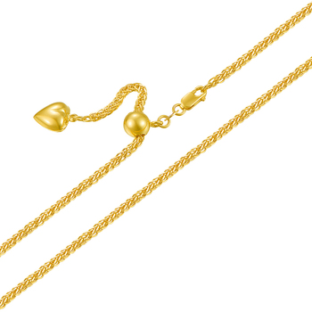 Real 18K Rose Yellow White Gold Necklace Woman's Elegant Wheat Link Chain 1.2mmW Fashion Lady  Adjustable 1
