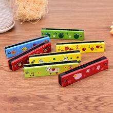 New Sale Cartoon Painted Wooden Harmonica Children Musical Educational Music Toys Instrument Random Color(China)