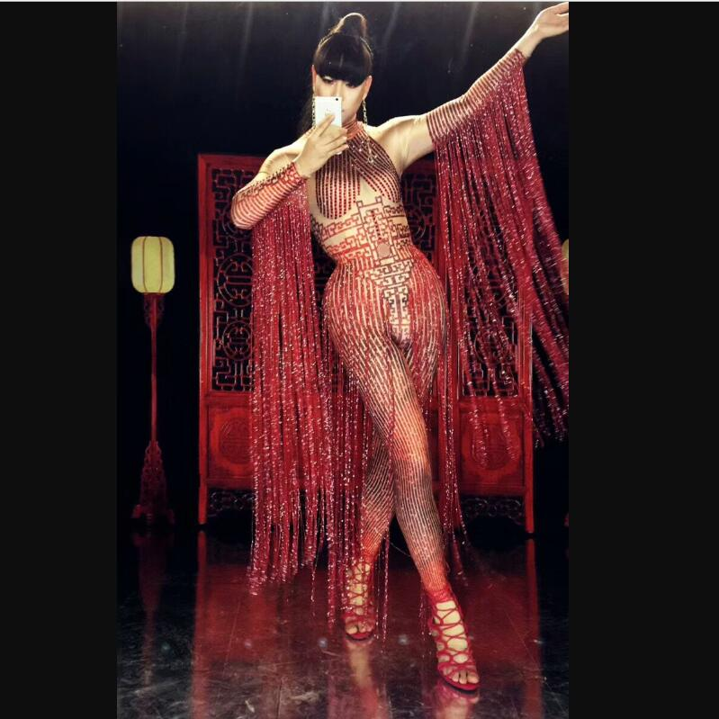 Sparkly Crystals Red Tassels Jumpsuit Sexy Nightclub Female DJ Singer Costume Prom Party Catwalk Performance Stage
