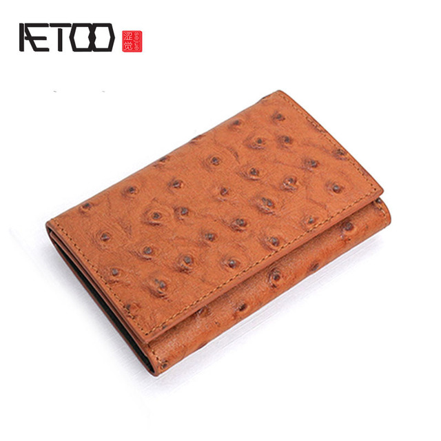 AETOO The first layer of leather leather handbags men s leather ostrich pattern  key chain women s buckle simple small card pack 0ad1690f58