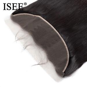 Image 5 - ISEE HAAR Brasilianische Gerade Spitze Frontal Verschluss 13*4 Ohr zu Ohr Kostenloser Teil Frontal 130% Schicksal Remy Haar freies Verschiffen