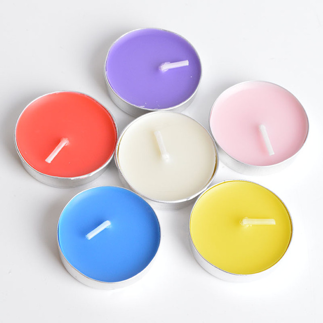 Colorful Round Candles 6 pcs Set