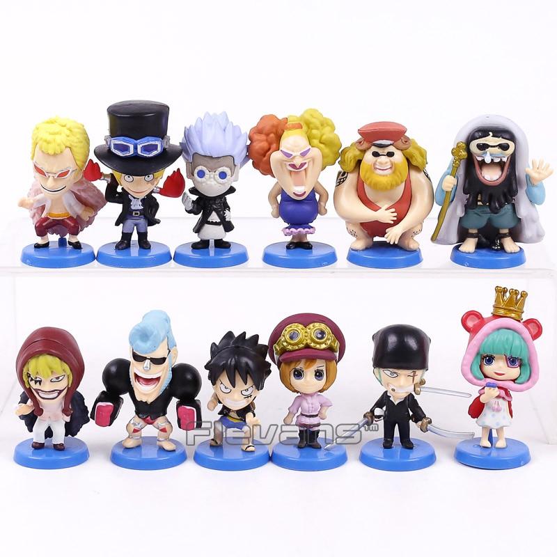 Anime One Piece Dressrosa Series Mini PVC Figures Toys 12pcs/set Luffy Sabo Zoro Doflamingo Sugar Trebol Corazon Koala 5cm sonny angel mini figures easter series 6pcs set toys christmas