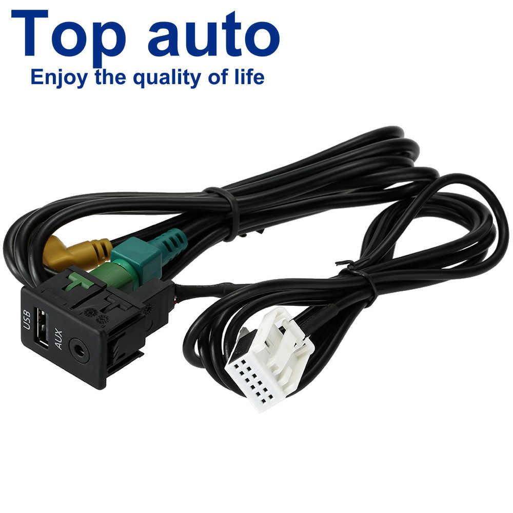 Автомобиль USB AUX наушников Мужской Джек аудио видео кабель адаптера Подключите коммутатор для VW Passat B6 B7 CC Touran поло подтяжку лица