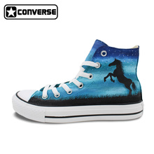 Converse Chuck Taylor Mens Womens Shoes Night Sky Horse Original Design Hand Painted Shoes High Top Woman Man Sneakers Best Gift