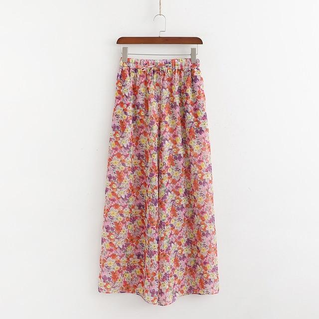 RR Flower Printed Long Trousers Womens Elastic Waist Wide Leg Summer Pants Female Pantalones Mujer Cargo Pants Women Ladies EO1