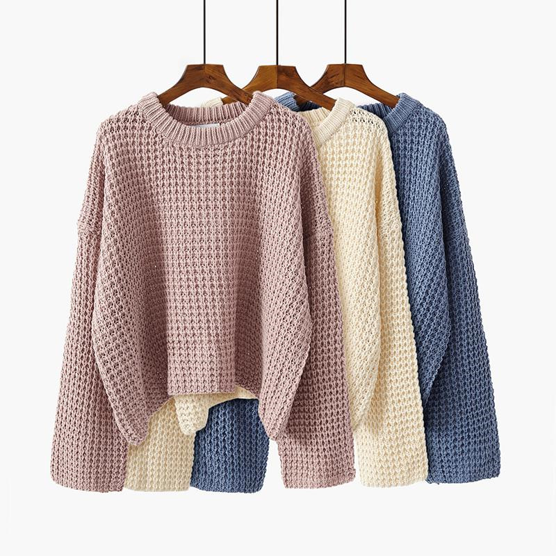 2018 winter autumn sweaters woman o-neck bottoming knitted warm pullover loose blue pink brown color sweaters HIGH QUALITY tops