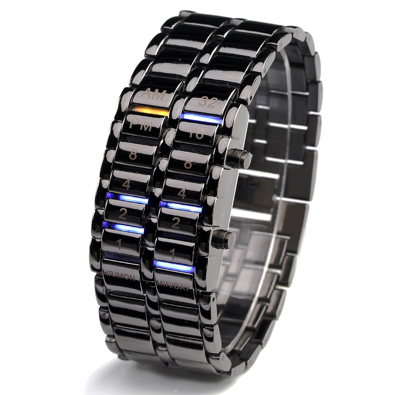 Waterproof  New Fashion Men Women Lava Electronic second generation Binary LED Bracelet Watch Wristwatch Clock Hours