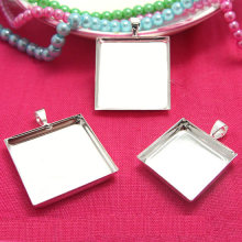 Silver tone Square Pendant Setting Blank Cabochons Base Deep Wall Tray Bezel Cups with Bail 16mm 18mm 20mm 25mm for DIY Findings(China)