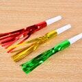 6Pcs Fringe Party Blowers Blowouts Toy Assorted Foil Colors Noisemakers - Color Random