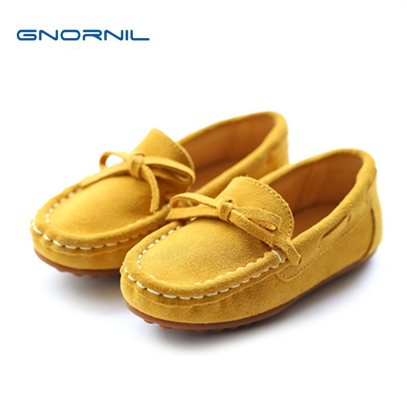 Casual Girls Leather Shoes Soft Sole Kids Mocassins 2016 Autumn Bowknot Princess Fashion Slip On Flat Mother and Daughter Shoes