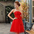 2017 new arrival elegant red short homecoming dress with bow and sequins modest short gown tull back style lace up in stock
