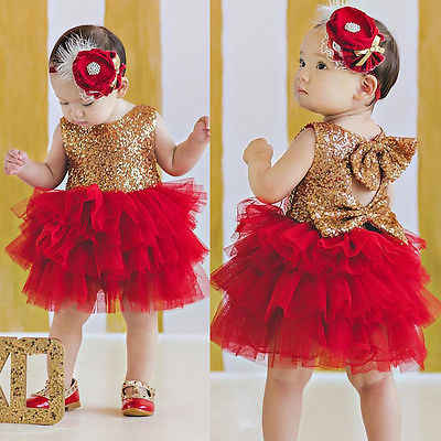 3-8Y Children Baby Girl Dress Clothing Sequins Party Gown Mini Ball Formal Love Backless Princess Bow Backless Gown Dress Girl