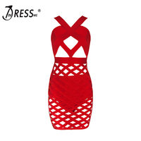 2017 Halter Neck Hollow Out Bandage Dress Sexy Women Club Dress Red Black Party Dress