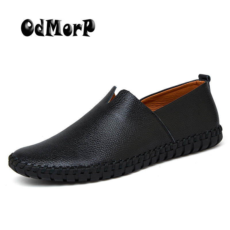 ODMORP Men Shoes Casual Leather Loafers Big Size 38-47 Soft Solid Slip On Mocassins Driving Shoes Men New Fashion Footwear pl us size 38 47 handmade genuine leather mens shoes casual men loafers fashion breathable driving shoes slip on moccasins