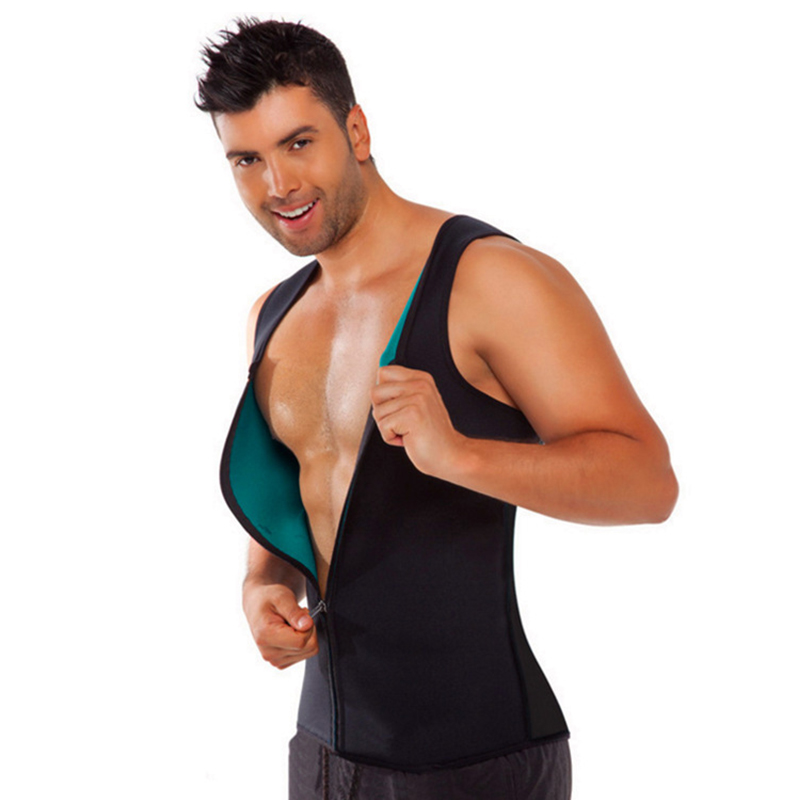 Men Waist Trainer Vest Weightloss Body Shaper Sauna Sweat Hot Neoprene Corset Zipper Style Sauna Tank Top Fat Burn Workout Shirt
