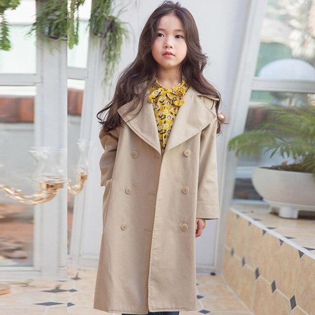 975eb18c8 little teenage girls solid jackets children long trend coats kids ...