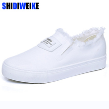 Canvas shoes women solid slip-on white sneakers wear-resista