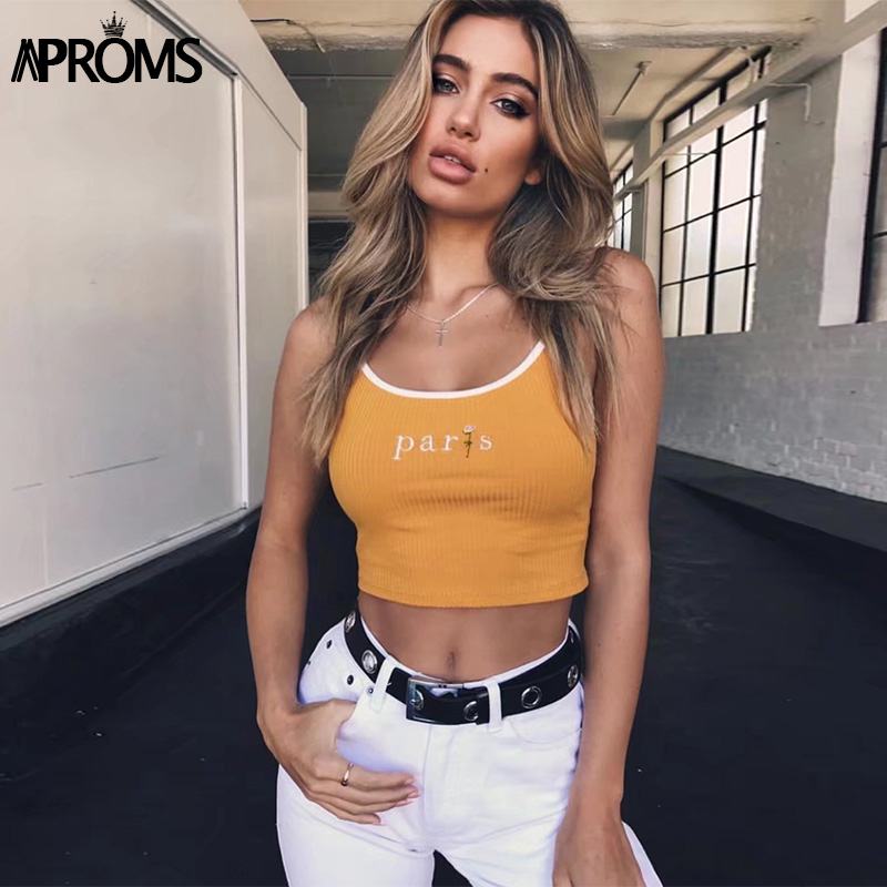 83c90b1ef283af Aproms White Paris Floral Embroidery Camis Women Fashion 2019 Cool Girls  Basic Tank Tops Sexy Ribbed Tees Cropped Bustier Tops-in Camis from Women's  ...