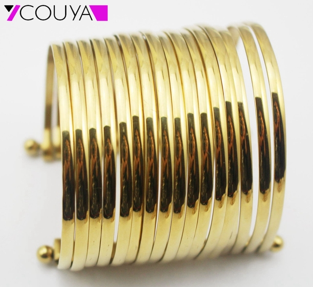 Fashion Women Big Wide Bracelet Gold / Silver Stainless Steel Multilayer Strings Wristband Cuff Bangles Statement Jewelry BA0001
