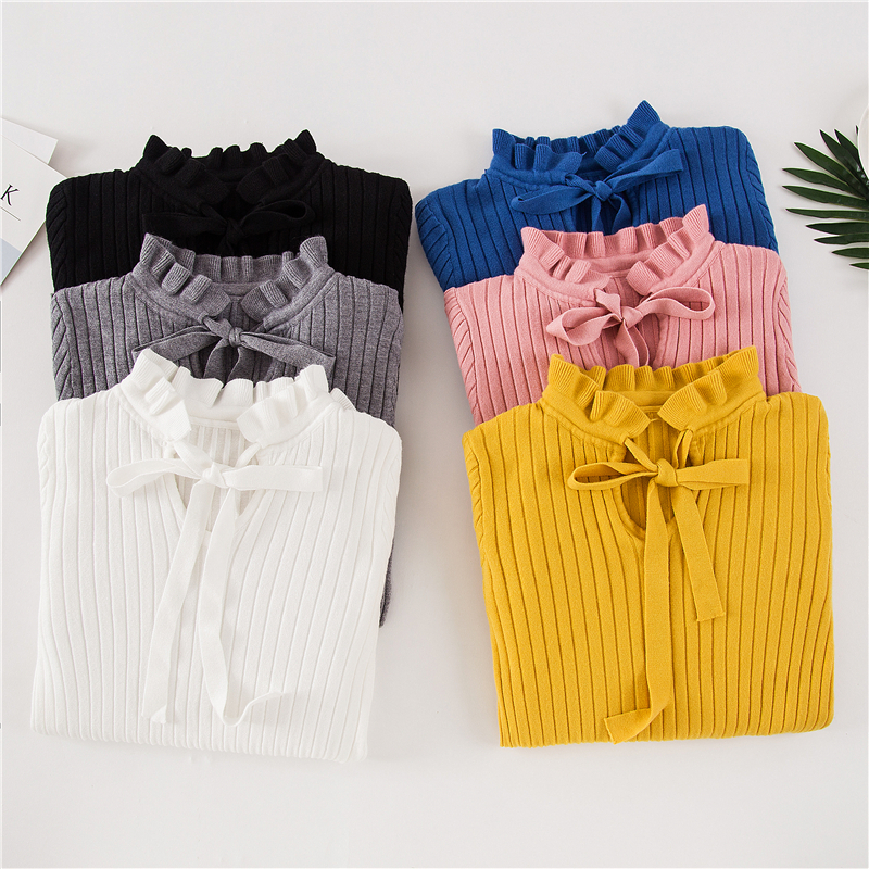 2020 Casual Spring Women Slim Sweater Winter Knitted Sweater Lace Up Flare Long Sleeve Ruffle Knitting Pullover Womens Sweaters