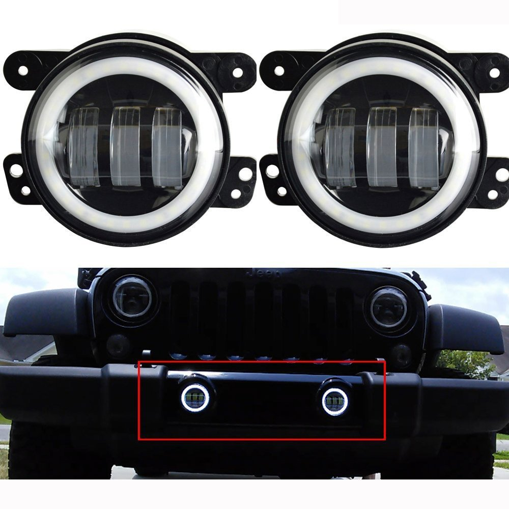 Pair Lantsun J023R 4 Inch 60W C R E E LED Fog Lights Halo Ring Angel Eyes for Jeep Wrangler 97-16 JK TJ LJ ATV
