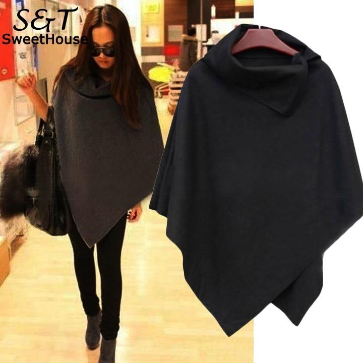 Autumn Sweater Women Poncho Coat 2017 Women Sweaters and Pullovers Cape Cloak Coat Tops Jackets Outwear Overcoats Gray Black