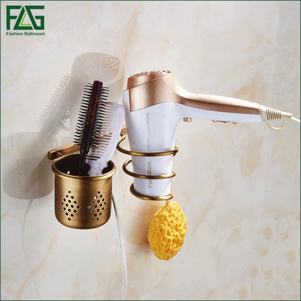 FLG Multi-function Bathroom Hair Dryer Holder Wall Mounted Rack Antique Copper Shelf Storage Organizer Hairdryer Holder 201