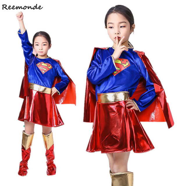 ילדים סופר בנות שמלת קוספליי תלבושות סופרמן סופרוומן חצאית חליפת נעלי סופר hero פלא ילדי בנות סופר Hero בגדים