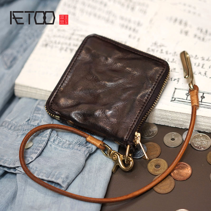 AETOO Original handmade leather wallet short vegetable tanned leather zipper retro Japanese and Korean personality tide men and aetoo handmade leather wallet men short section vertical zipper personality men money wallet youth tide male vintage wallet