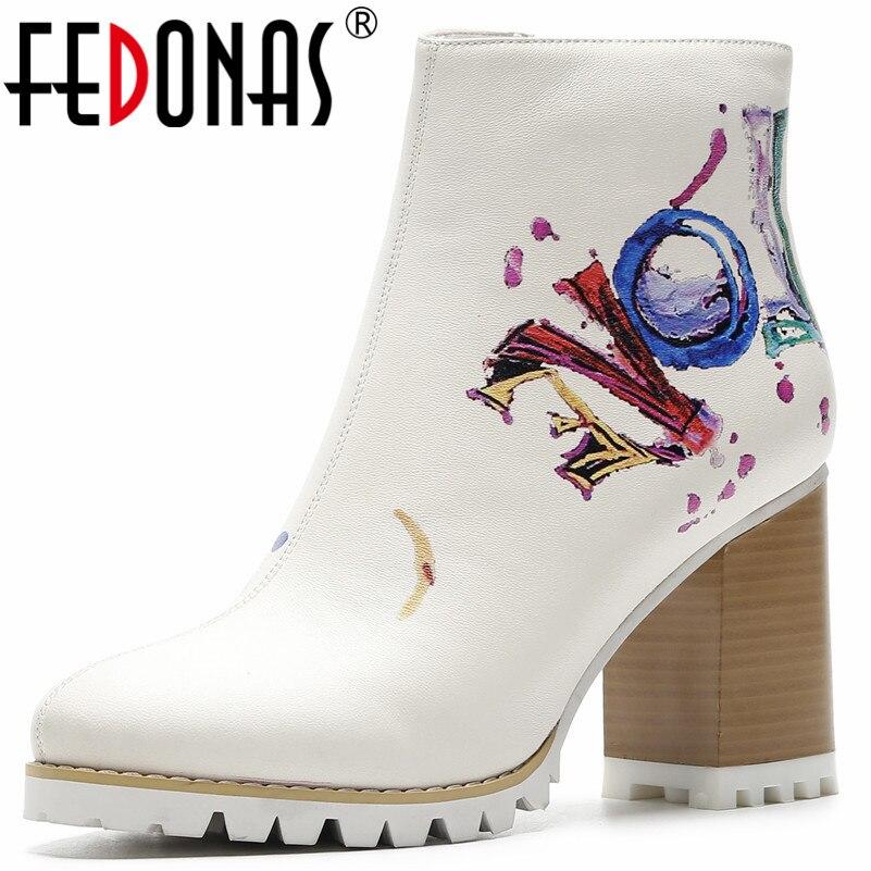 Fedonas 패션 새로운 여성 인쇄 발목 부츠 하이힐 지퍼 나이트 클럽 파티 신발 여성 펑크 가을 겨울 기본 부츠 펌프-에서앵클 부츠부터 신발 의  그룹 1