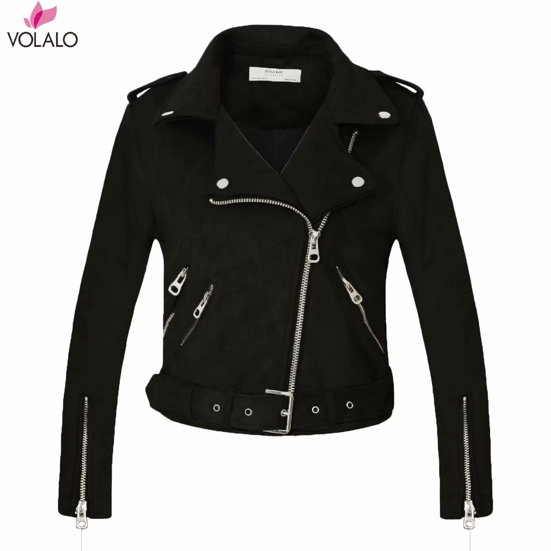 2019 New ArriVal Women Autumn Winter   Suede   Faux   Leather   Jackets Lady Fashion Matte Motorcycle Coat Biker Gray Pink Beige Outwear