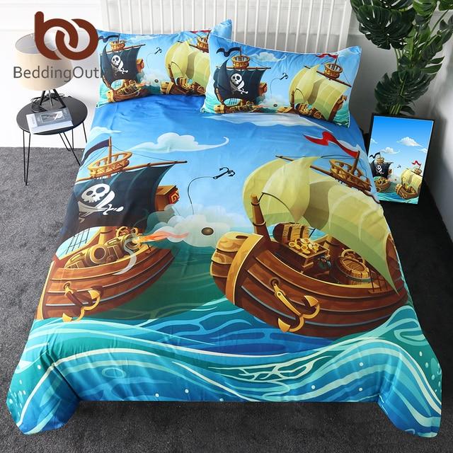 BeddingOutlet Pirate Duvet Cover Set Cartoon Boat Kids Bedding Set Nautical Ocean Boys Bedspreads 3 Piece Comforter Cover Single