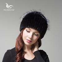 MOSNOW New Fashion Genuine Rex Rabbit Fur Woman Winter Hats Luxury Elegant Rose Flower Cluster Fox