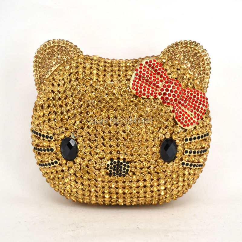 ФОТО LaiSC Cartoon Bags Animal Cat Face Evening Bag Luxury Diamond Crystal Clutch Bag Day Clutches Ladies Chain Party Purse SC055