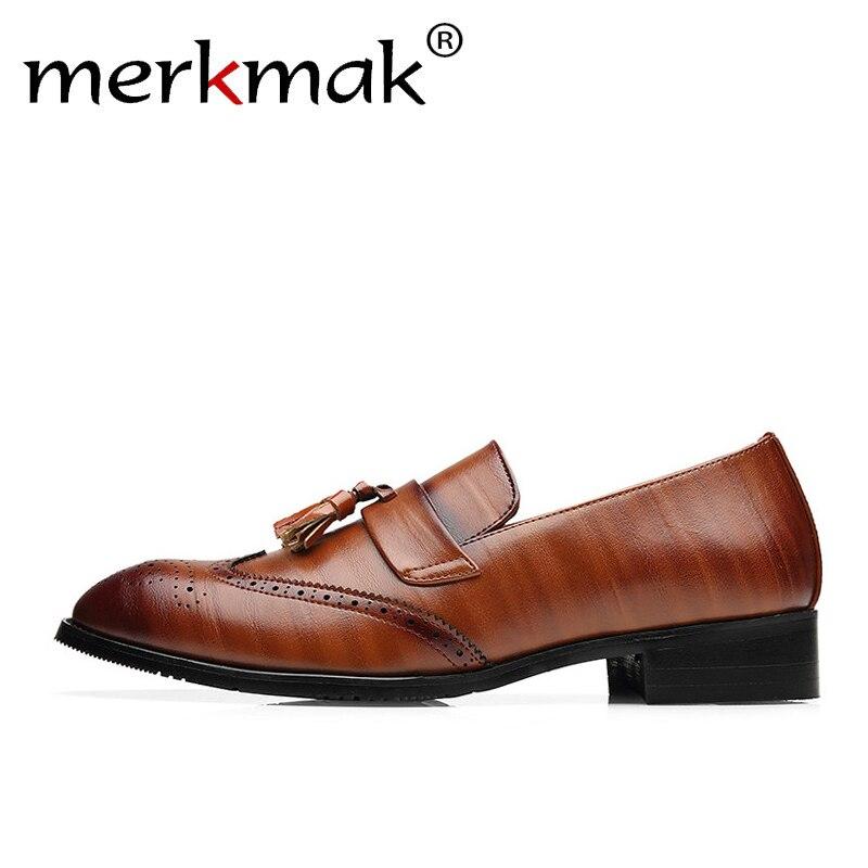 Merkmak de gran tamaño 37-48 de los holgazanes de cuero de los hombres zapatos de marca clásico borla Brogue hombre calzado Formal zapatos casuales Bullock zapatos
