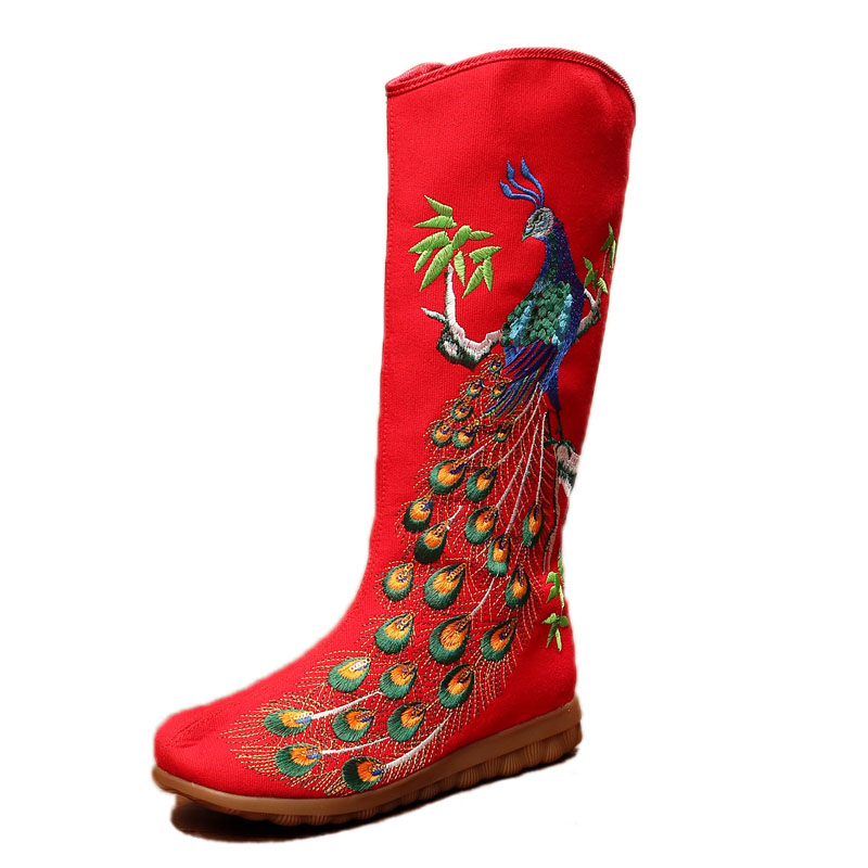 ФОТО New Women Fashion Peacock Embroidery Knee High Boots Ladies Casual Flat Canvas High Boots Chic Chinese Style Autumn Winter Boots