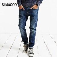 SIMWOOD Brand 2016 New Autumn Winter Robin Jeans Men Fashion Denim Pants Slim Fit Hole