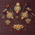 Tocado de novia cheongsam ropa vestido de dragón y fénix de oro borla Chino Xiu Coronet tocado accesorios para el cabello