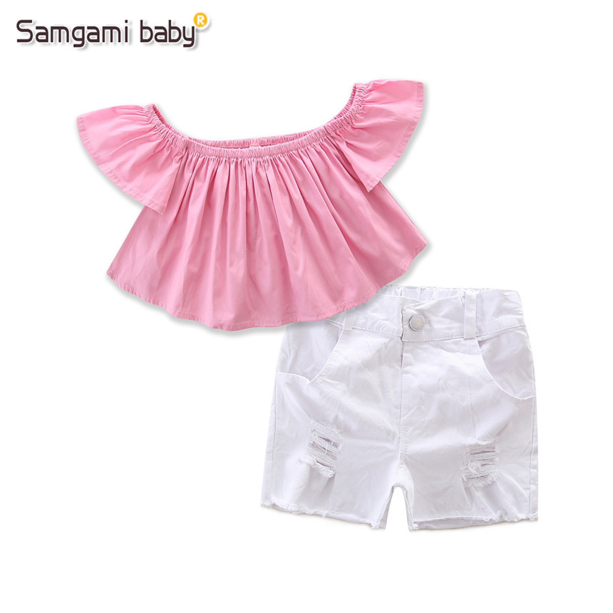 aa2a134301a SAMGAMI BABY Fashion Style Kids Clothes Pink Off Shoulder Tops+white Shorts  2pcs set Girls Clothing Set Summer Baby Girl Clothes-in Clothing Sets from  ...