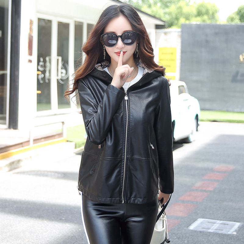 Women   Leather   Hooded Jacket 2018 New Girls Zippered Short Slim Motorcycle Faux   Leather   Basic Jacket Coat Female Outerwear M-3XL